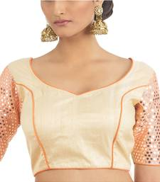 Beige Raw Silk with Mirrow Embroidered sleeve Blouse