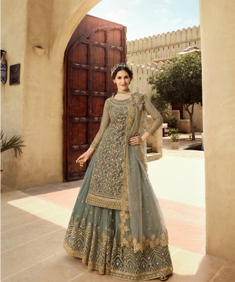 Olive Green Embroidered Net Lehnga Suit
