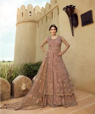 Blush Pink Net Lehnga Style Anarkali Suit