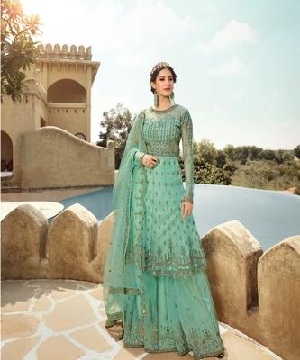 Aqua Blue Embroidered Net Anarkali Suit