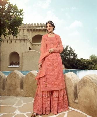 Peach Embroidered Pakistani Anarkali Suit