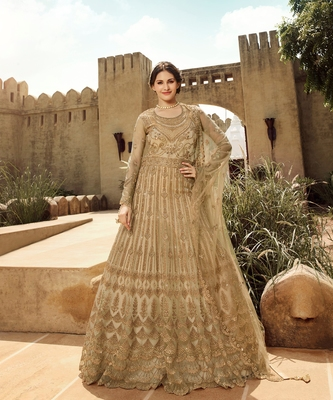Beige Golden Embroidered Anarkali Suit