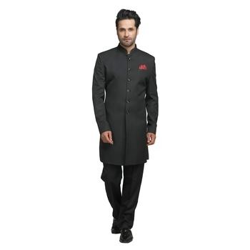 Black plain polyester indo-western-dresses