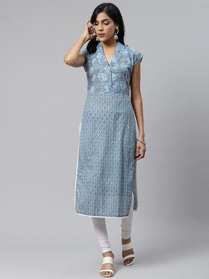 Sky-blue printed cotton cotton-kurtis