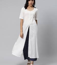 White plain cotton cotton-kurtis