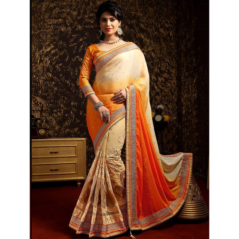 Buy Chikoo And Orange Embroidered Georgette Saree With Blouse Online