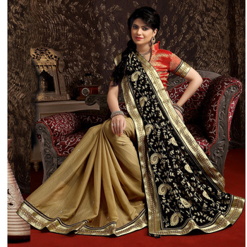 Buy Black And Chikoo Embroidered Georgette Saree With Blouse Online