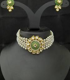Green Meenakari Kundan Pearl Choker Jewelry Set