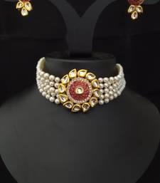 Red Meenakari Kundan Pearl Choker Jewelry Set