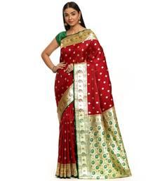 Maroon woven satin saree with blouse