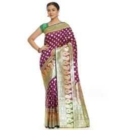 Purple woven satin saree with blouse