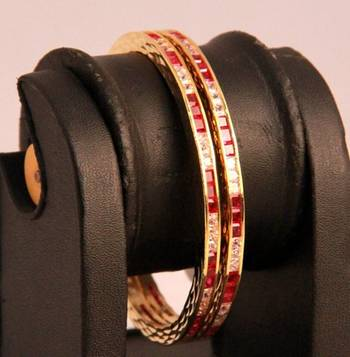 Red and White Stones Pair of American Diamond Bangles