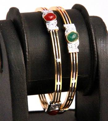 Gold Bangles with Red and Green Stones
