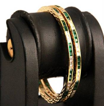 Green and White Stones Pair of American Diamond Bangles