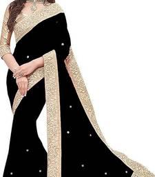Black Vichitra Silk Jacquard Lace Saree With Jacquard Blouse Piece.