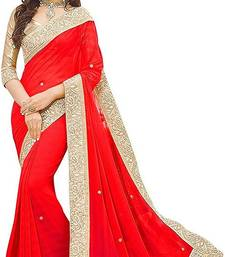 Red Vichitra Silk Saree With Lace and Blouse Piece.