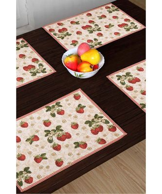 AVI Living Polycotton Table Mats Set of 4 for Dining or Side Table Machine Washable