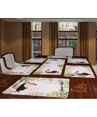 Toucan Polycotton Table Mat and Runner Set of 7  (Multicolor)