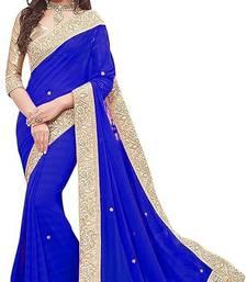 Royal Blue fancy fabrics fancy lace Saree With Blouse Piece.
