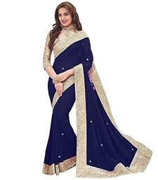 Navy Blue Georgette saree with fancy lace and blouse piece.
