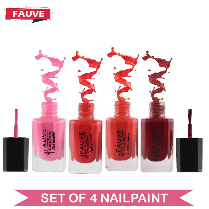 Fauve FN15 Nail Paint Violet Red Matte Nude Pink Matte Red