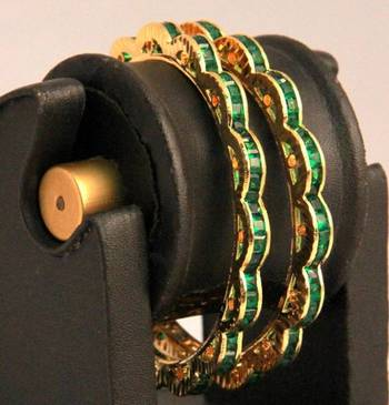 Green Stones Pair of American Diamond Bangles