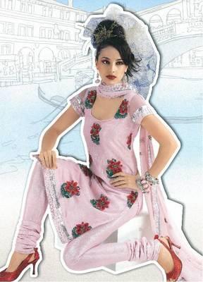 Pink designer salwar kameez material with floral embroidery - Riyaa 900395