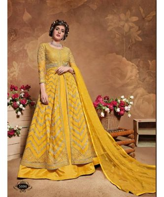 yellow embroidered net semi stitched salwar