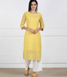 Yellow Embroidered Georgette Staright Kurti