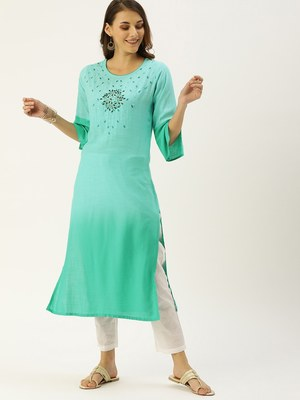 Turquoise Embroidered Georgette Staright Kurti