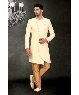 Cream Cotton Indowestern Sherwani