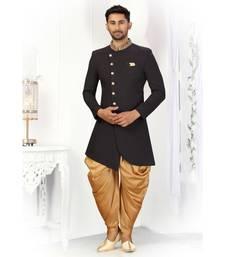 Black Cotton Indowestern Sherwani