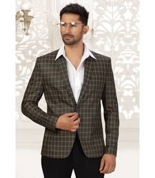 Suiting Fabric Blazer In Bottle Green Colour