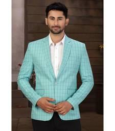 Sea Green Cotton Single Breasted Blazer