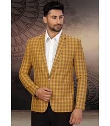 Dark Yellow Cotton Single Breasted Blazer