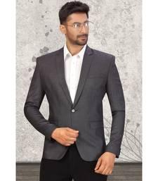 Grey Cotton Single Breasted Blazer