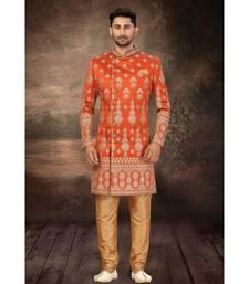 Rust Orange Art silk Classic Sherwani