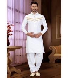 White Cotton Pattern Pathani Set