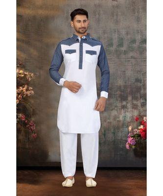 White Cotton Pattern Stone Pathani Set with navy blue pattern work