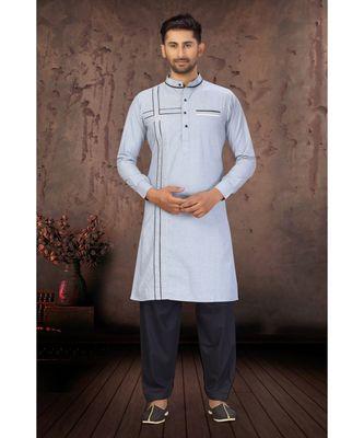 Stone Blue Cotton Pattern Pathani Set