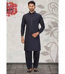 Navy Blue Cotton Pattern Pathani Set