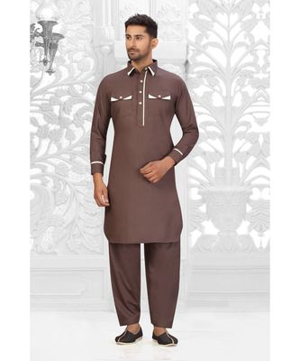 Chocolate Brown Cotton Pattern Pathani Set