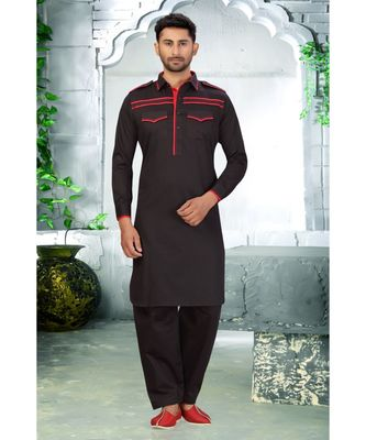 Black With Red patch work designer wear Cotton Pattern Pathani Set