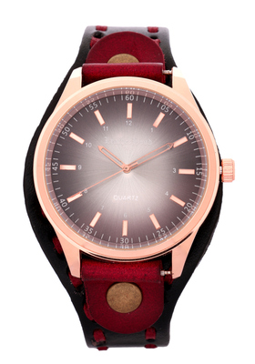 LeatherHood 18K Rose Gold Plated Handcrafted Genuine Black Red Leather Analog Black Men's Watch