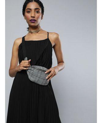 Black Pleated Strappy Maxi Dress