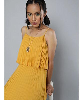 Mustard Pleated Strappy Maxi Dress