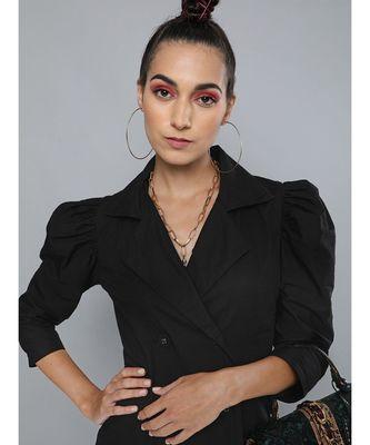 Black Poplin Belted Blazer Dress