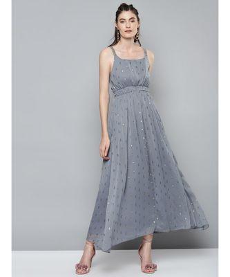 Grey Lurex Sequence Strappy Dress