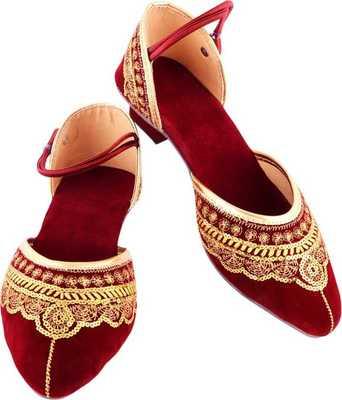 Red Embroidery Velvet Heels Sandal
