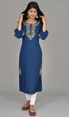Teal blue Cotton blend 3/4th  bell  Sleeves saganeri embroidered Womens Kurta